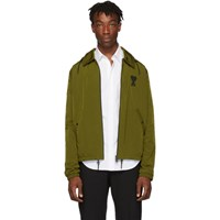 Ami Alexandre Mattiussi Green Hooded Zip Up Jacket