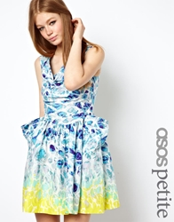 Asos Petite Exclusive Skater Dress With Cowl Neck Multi