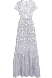 Needle And Thread Meadow Embroidered Tulle Gown Light Blue