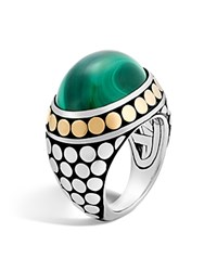 John Hardy 18K Yellow Gold And Sterling Silver Dot Dome Ring With Malachite Green Silver