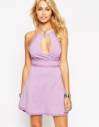 Asos Halter Skater Dress With Wrap Front And Lace Trim Purple