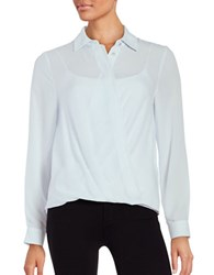 Ivanka Trump Button Front Pleated Blouse Frost