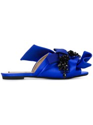 N 21 No21 Bow Embellished Flats Women Leather Silk Satin Rubber 38.5 Blue