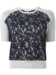 Carven Knitted Lace Front Sweater Grey