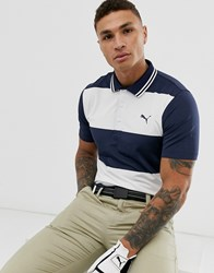 Puma Golf Stripe Polo In Navy