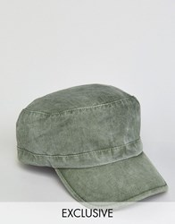 Reclaimed Vintage Washed Army Cap In Khaki Green