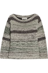 Etoile Isabel Marant Pit Striped Cotton Blend Sweater Green