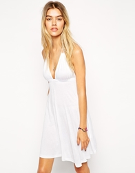 Asos Halter Jersey Mini Beach Dress White
