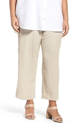 Eileen Fisher Plus Size Women's Organic Linen Wide Leg Crop Pants Undyed Natural