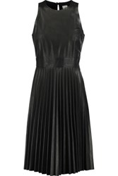 Iris And Ink Pleated Leather Dress Black