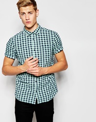 New Look Short Sleeve Shirt In Gingham Washed Check Mintgreen