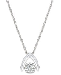 Macy's Diamond Solitaire Wishbone Pendant Necklace 5 8 Ct. T.W. In 14K White Gold