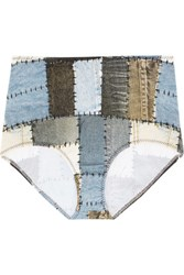 Norma Kamali High Rise Printed Bikini Briefs Light Denim