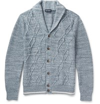 Hackett Shawl Collar Cable Knit Cotton Cardigan Gray