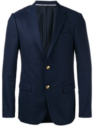 Z Zegna Gold Button Blazer Blue