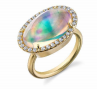 Irene Neuwirth One Of A Kind 18K Yellow Gold Ring With Water Opal 5.67 Cts And Diamond Pave 0.38 Cts E Color Vs Clarity Multi