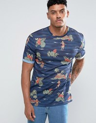 Asos T Shirt With All Over Hawaiian Print And Rolled Sleeve Navy Blue