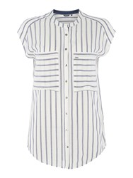 Salsa Sleeveless Striped Shirt White