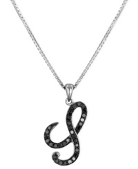Macy's Sterling Silver Necklace Black Diamond 'S' Initial Pendant 1 4 Ct. T.W.