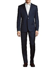 Versace Textured Wool Suit Dark Blue