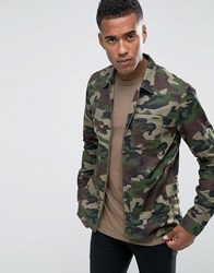 Jack And Jones Camo Zip Through Overshirt Jacket Camo Green