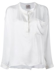 Nude Henley Blouse White