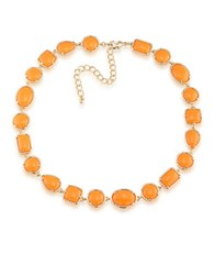 1St And Gorgeous Cabochon Multi Shape Flexible Collar Necklace In Light Orange Gold