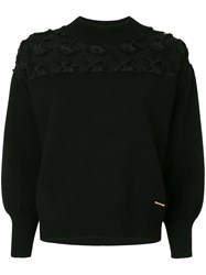 Loveless Front Applique Sweater Black