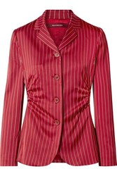 Sies Marjan Greer Ruched Pinstriped Satin Blazer Claret