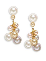 Majorica 5 10Mm White Champagne And Pink Pearl Chain Drop Earrings Multi