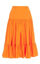 Mds Stripes Tiered Ruffle Skirt Orange