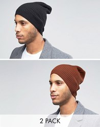 Asos Slouchy Beanie 2 Pack In Black And Rust Multi