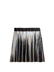 Balmain Holographic Pleated Voile Mini Skirt Black Multi