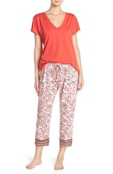 Women's Lucky Brand 'Tee Jay' Embroidered Trim Capri Pajamas Ivy Woodblock Chili