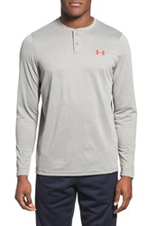 Men's Under Armour 'Infrared Coldgear' Loose Fit Long Sleeve Stretch Henley Tanstone Red