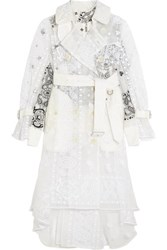 Sacai Embroidered Organza And Printed Poplin Trench Coat Off White