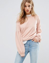 New Look Balloon Sleeve Sweatshirt Jumper Pink