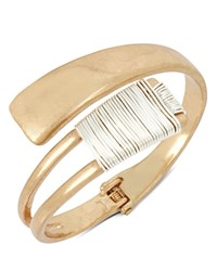 Robert Lee Morris Soho Two Tone Wire Wrap Bypass Cuff Gold
