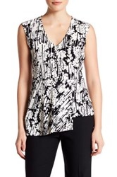 Laundry By Shelli Segal Short Sleeve Asymmetrical Print Peplum Blouse Black