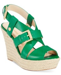 Nine West Jentri Strappy Espadrille Platform Wedge Sandals Women's Shoes Green