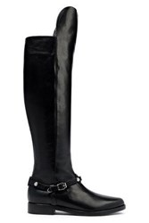 Versace Woman Embellished Leather Knee Boots Black