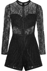 Alexis Jacob Lace And Tulle Playsuit Black