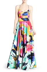 Women's Milly 'Alana' Brushstroke Print Gown Black Multi