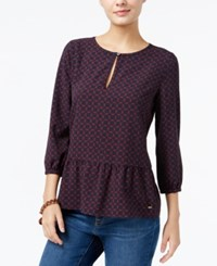 Tommy Hilfiger Dotty Diamonds Printed Peplum Top Only At Macy's Masters Navy Multi