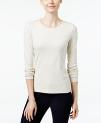 Charter Club Pima Cotton Long Sleeve Top Natural Oat Heather