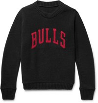 The Elder Statesman Nba Bulls Intarsia Cashmere Sweater Black
