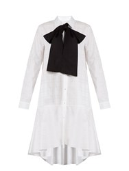 Osman Amelia Neck Tie Cotton Jacquard Shirtdress White