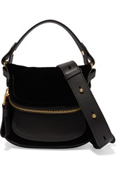 Tom Ford Jennifer Small Velvet And Textured Leather Shoulder Bag Black