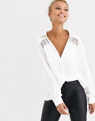 Morgan Plunge Front Lace Insert Blouse In Ivory White