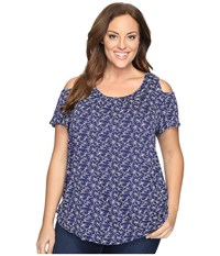 Lucky Brand Plus Size Printed Cold Shoulder Top Navy Multi Women's Clothing Blue